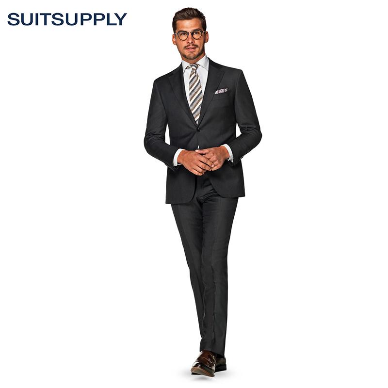 Suitsupply - Napoli西装套装经典深灰色羊毛平纹男士商务西服
