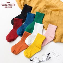 caramella儿童袜子春秋男女童袜婴童堆堆袜纯棉公主袜宝宝中筒袜价格比较