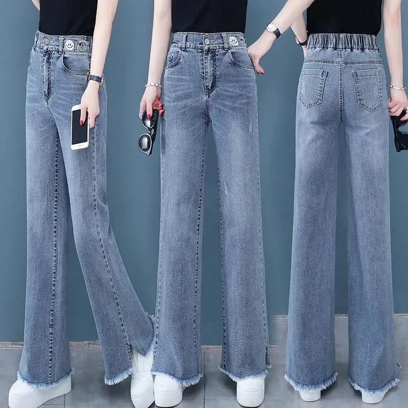 阔腿牛仔裤女士春夏2021年新款高腰宽松直筒百搭显瘦拖地裤裤子潮