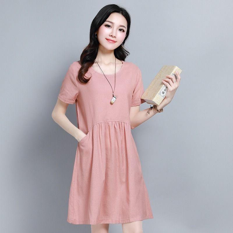 棉麻连衣裙女2020夏季新款大码遮肚显瘦休闲中长款小个子A字裙