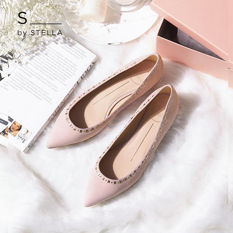 小S女鞋S by STELLA2018新灰粉色羊反毛纽钉浅口低跟单鞋平底鞋女