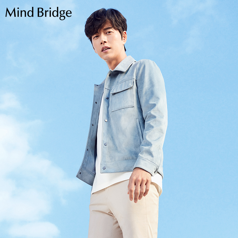 Mind Bridge百家好男装时尚潮流翻领短款男式夹克外套MSJP2101