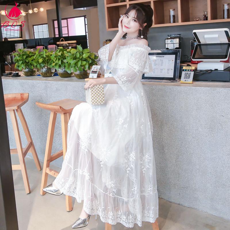 蕾丝连衣裙秋季2018新款一字肩少女心仙女裙显瘦韩版长裙超仙气质