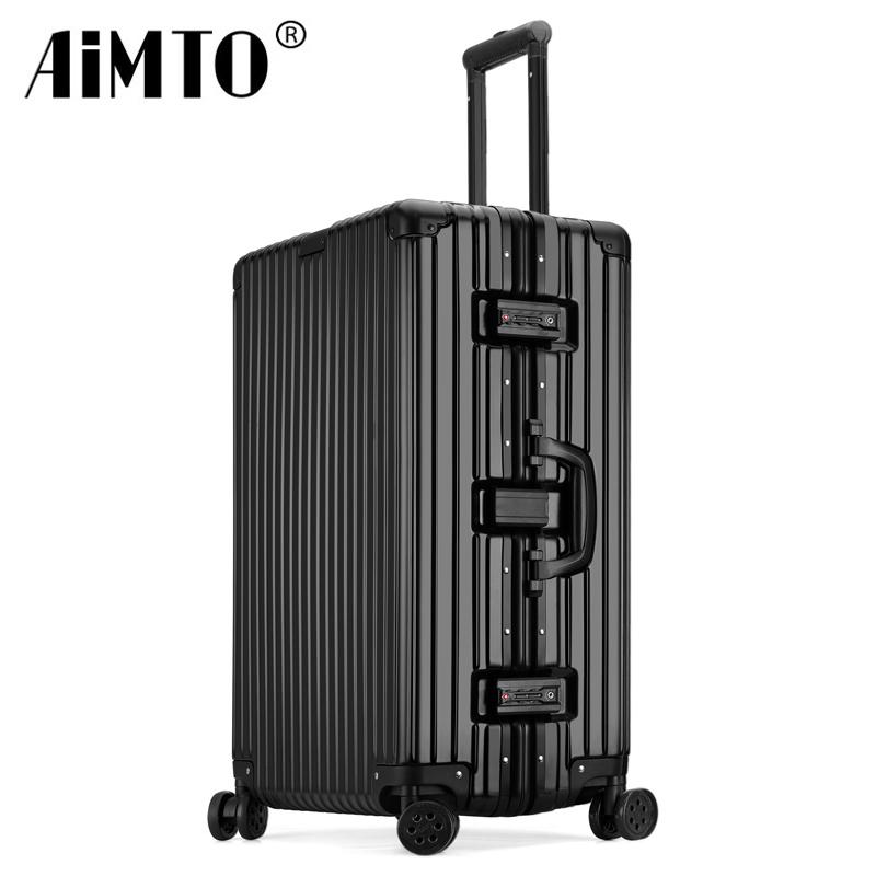 行李箱拉杆箱万向轮旅行箱男女铝框密码箱直角28寸24学生皮箱子20