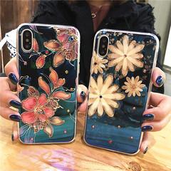 小雛菊iPhoneX手機殼蘋果8/7plus滴膠藍光iPhone6splus鑲鉆軟殼套