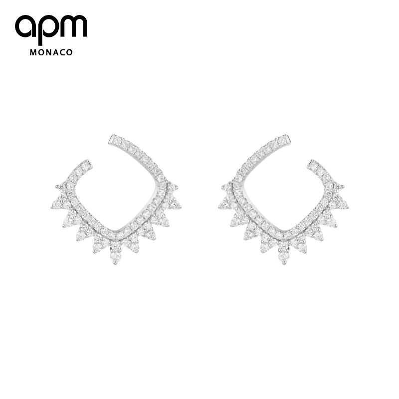 APM Monaco银镶晶钻齿形花边耳环巴洛克复古风性感欧美几何耳饰