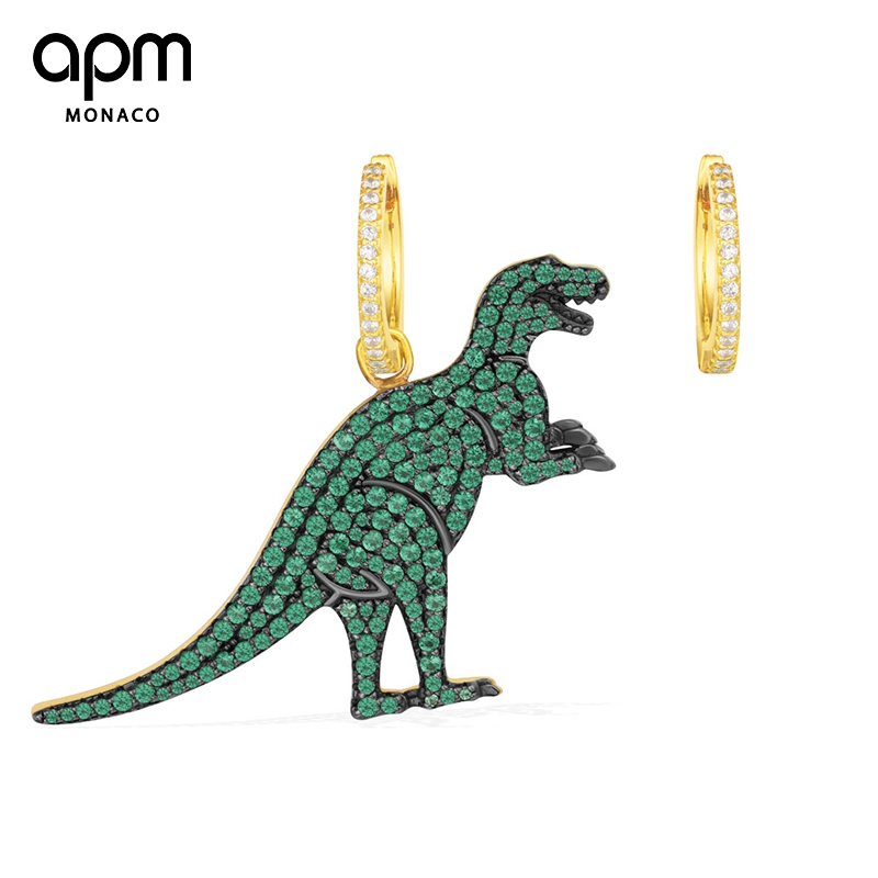APM Monaco不对称绿晶钻恐龙耳环女耳坠银耳钉潮