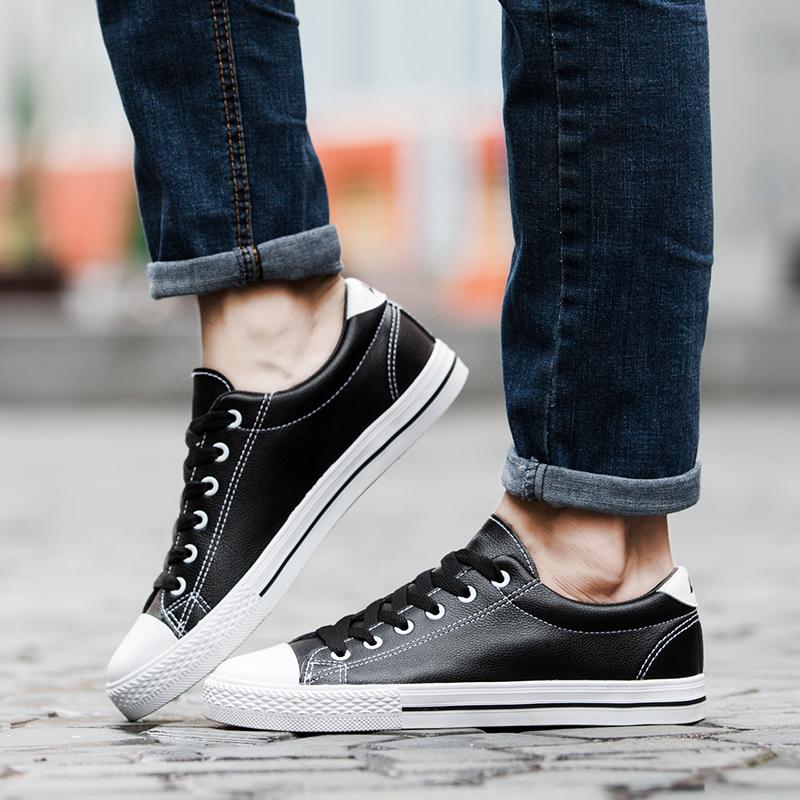 回力男鞋秋季新款户外休闲鞋学生时尚板鞋皮面小白鞋加绒防水鞋子