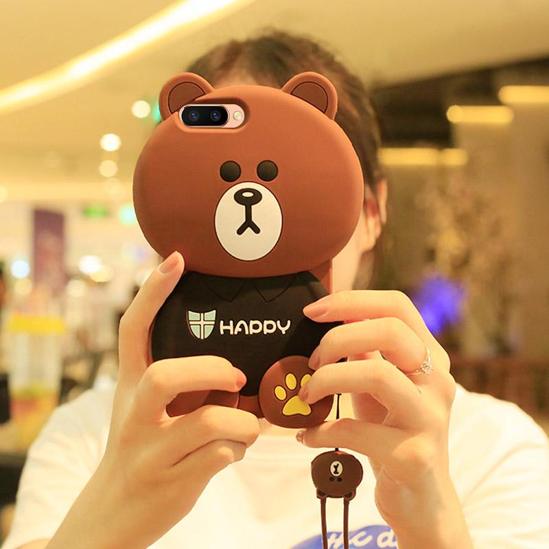 熊oppor11s手机壳r9 s女款挂绳r15梦境版卡通软壳oppor9s p[优惠3元包邮]