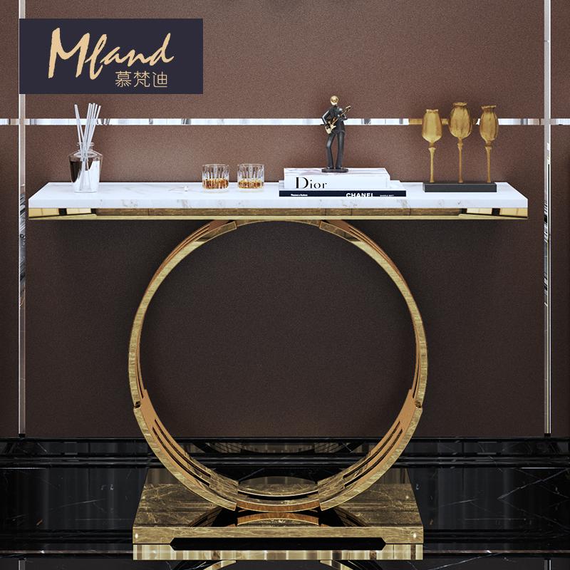 慕梵迪 后现代简约轻奢玄关桌不锈钢大理石客厅隔断玄关柜置物架