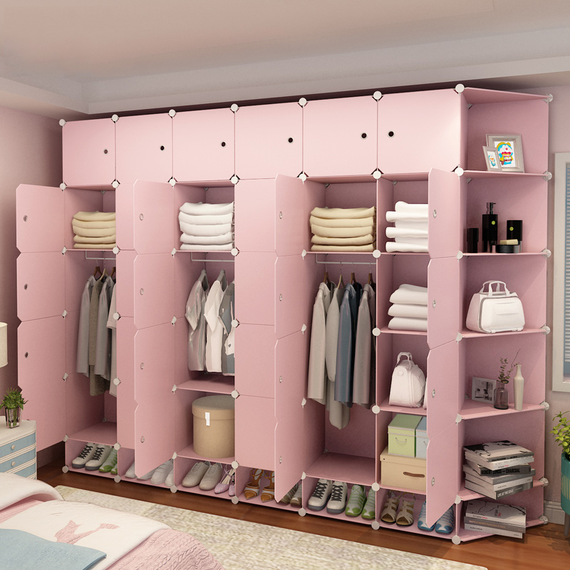 Bedroom closet simple modern economy double locker simple assembly multifunctional detachable wardrobe fabric