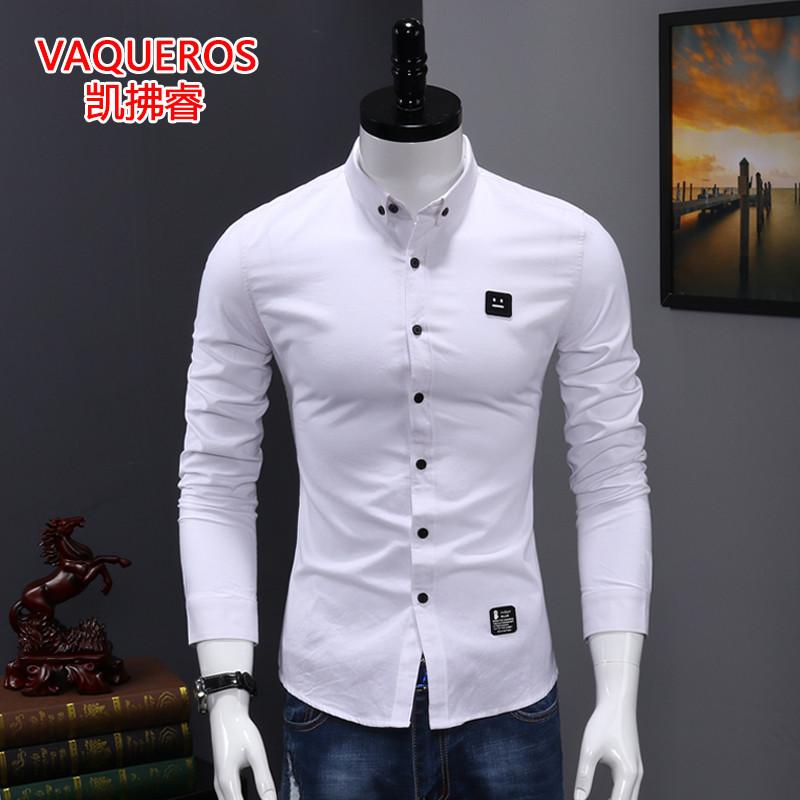 衬衫男长袖秋季纯棉刺绣修身帅气休闲白衬衣青年韩版潮流男装寸衫