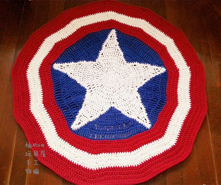 包邮纯手工制作 美国队长盾牌爬行垫 婴幼儿游戏地垫