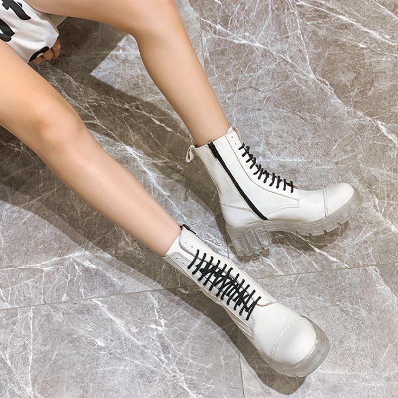 李小璐同款鞋真皮马丁靴女凉靴白色夏季薄款水晶底粗跟高帮短靴子