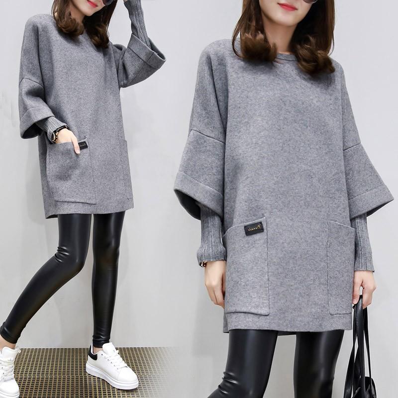 假两件外套宽松拼接中长款女韩版秋装新款大码女装连衣裙胖mm卫衣