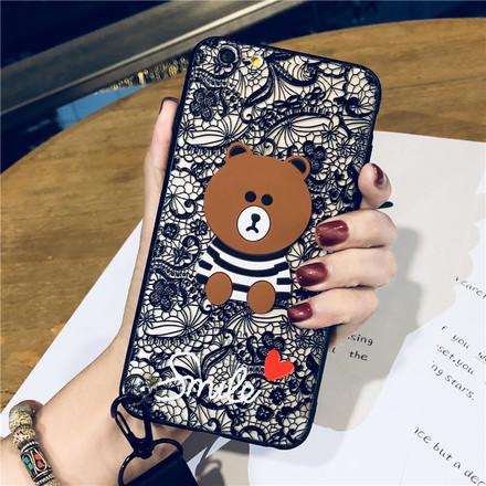卡通蕾丝小熊iPhone6splus手机壳8苹果7p全包7浮雕挂绳X女款套潮