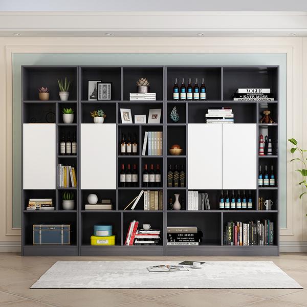 现代简约北欧简易书柜书架落地置物架多功能收纳柜酒柜自由组合