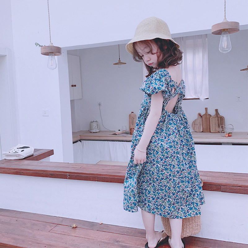 Girls' dresses 2019 summer new children's Korean version of floral floral long long super fairy baby open-back beach skirt