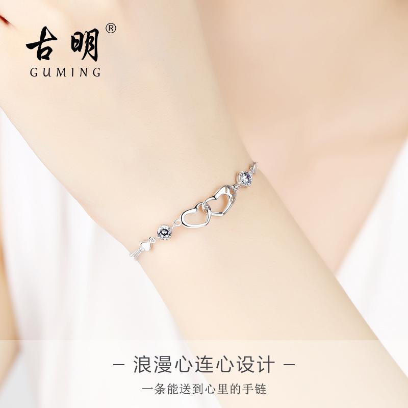 925纯银手链女爱心日韩版简约森系个性手镯送女友生日礼物银饰品