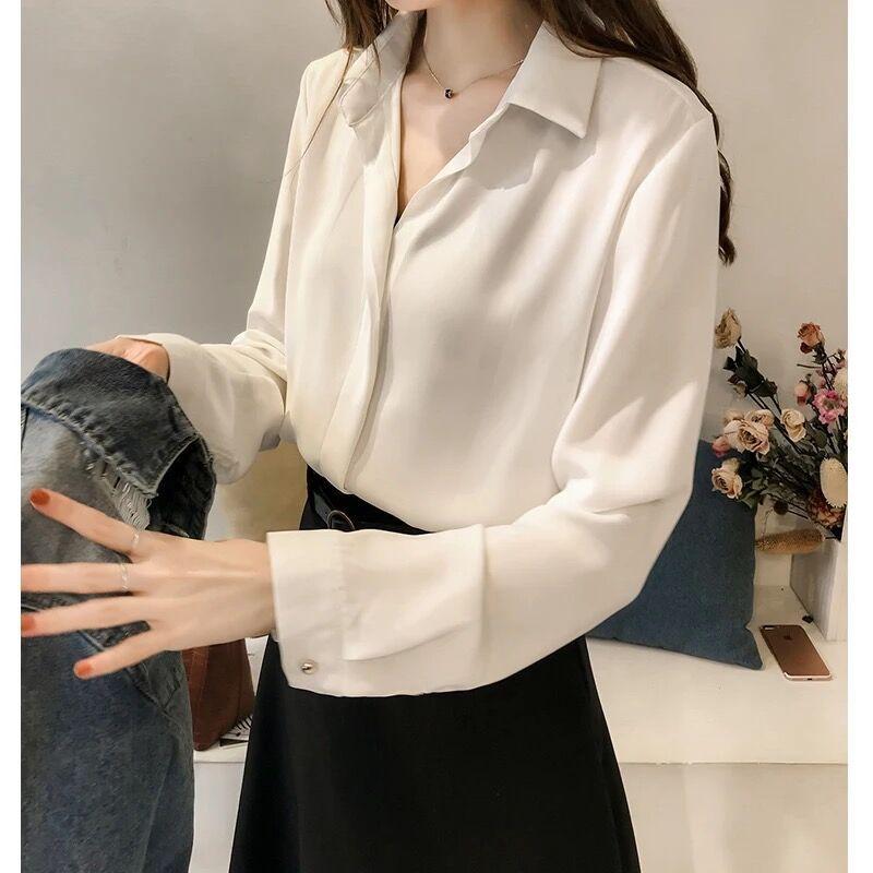春夏长袖雪纺衬衣设计感小众上衣气质职业