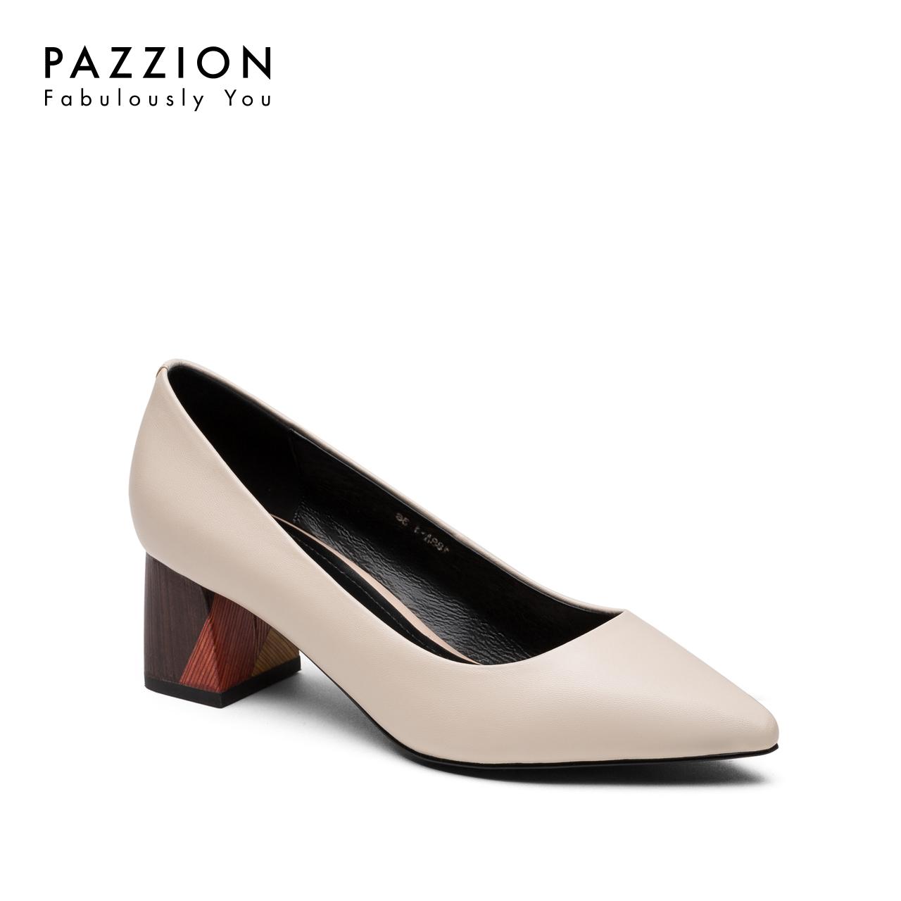 PAZZION2018秋季新款休闲中跟羊皮单鞋 简约尖头浅口拼色粗跟女鞋