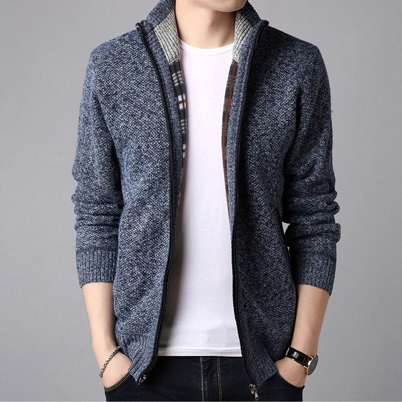 帝文化秋冬新款男士纯色毛衣外套韩版时尚潮流针织开衫外套上衣