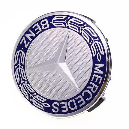 奔驰轮毂盖贴标 75/65mm奔驰蓝黑麦穗轮盖标贴 改装轮毂中心标志