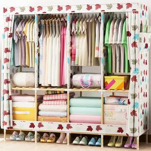 特大号1.7米实木布衣柜牛津布加粗加固简易衣柜衣物棉被子收纳柜