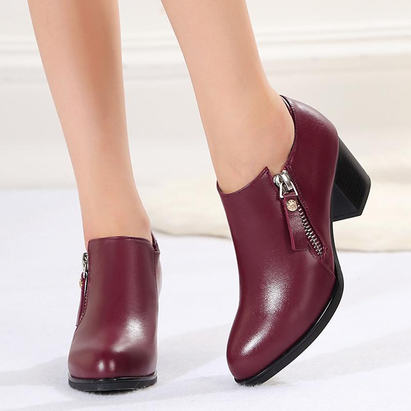 中年单鞋女2018新款中跟深口女鞋粗跟真皮舒适时尚春秋妈妈小皮鞋