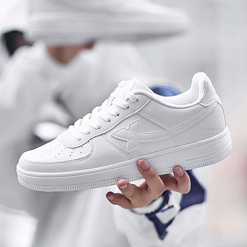 特步男鞋板鞋秋季2020新款空军一号情侣小白鞋潮女冬季休闲运动鞋