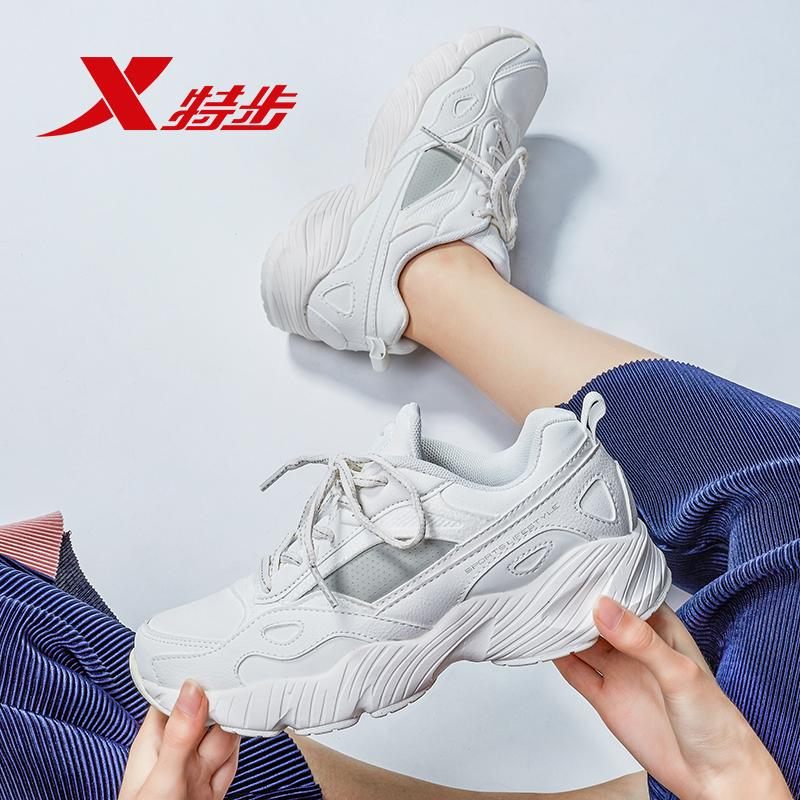 特步女鞋老爹鞋女冬季2019新款增高小白鞋正品跑步休闲运动鞋子女