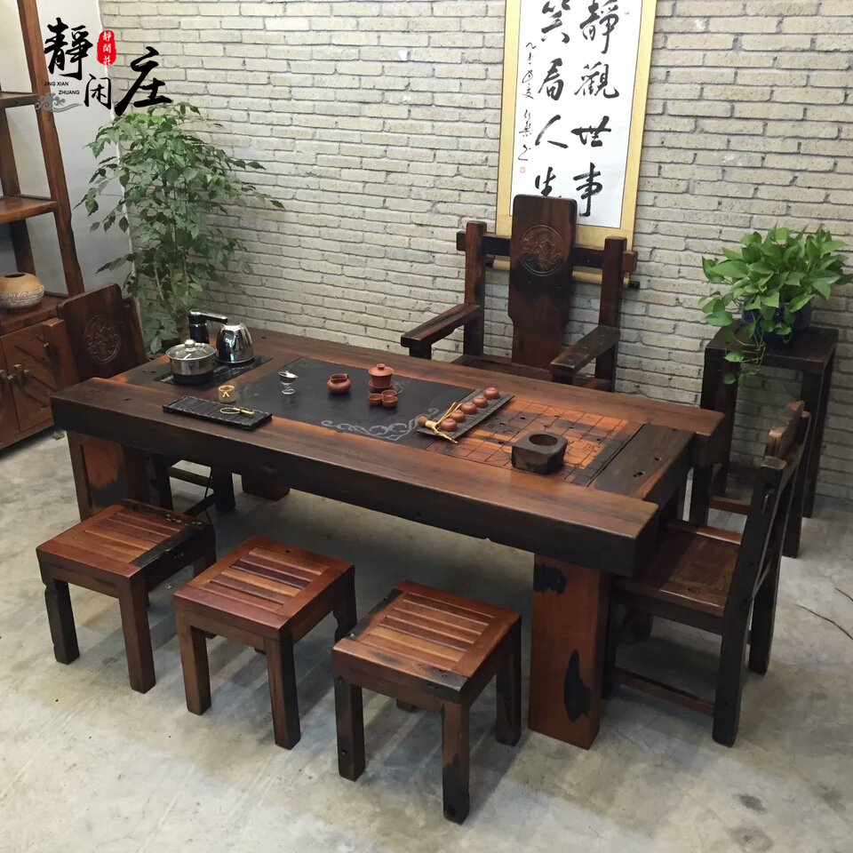 老船木茶桌椅组合多功能简约茶几实木家具办公室阳台泡茶桌茶艺桌