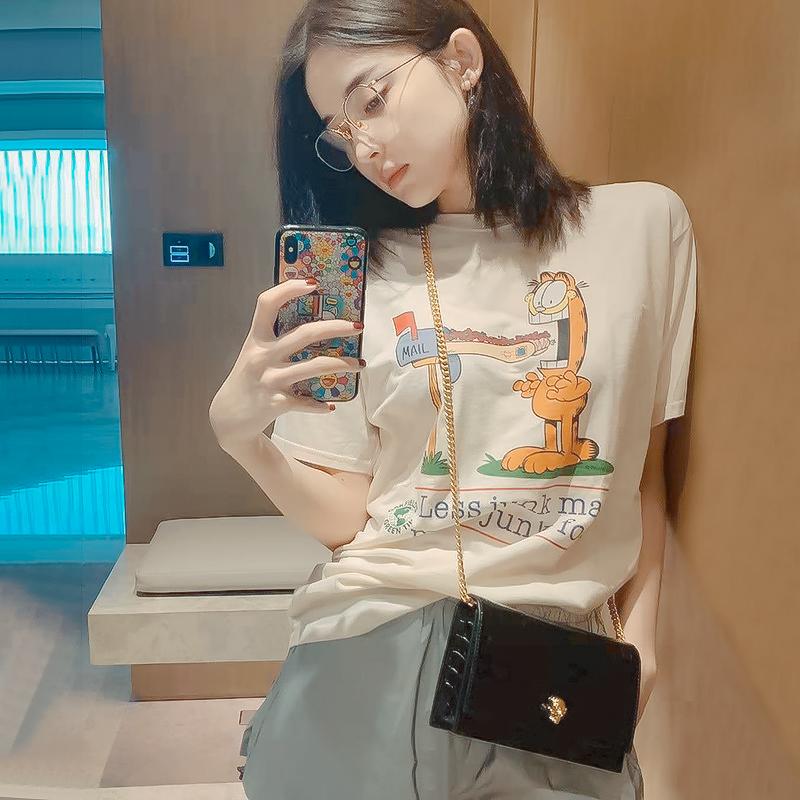 古力娜扎同款衣服2020夏季百搭宽松卡通咖啡猫字母印花短袖T恤女