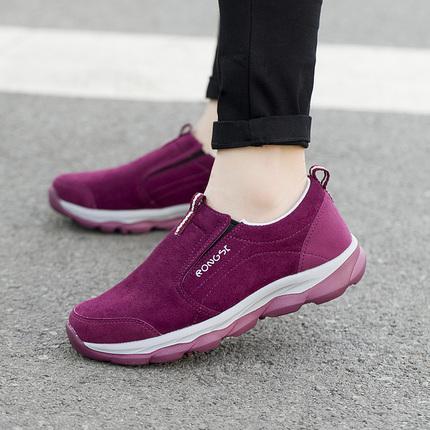老年鞋老人鞋女防滑软底中老年妈妈鞋秋冬新款平底舒适运动健步鞋