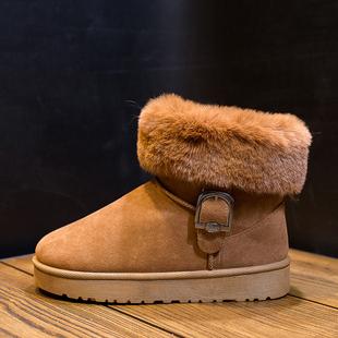 兔毛雪地靴女短筒韩版百搭学生皮毛一体短靴户外反季加绒棉鞋中筒