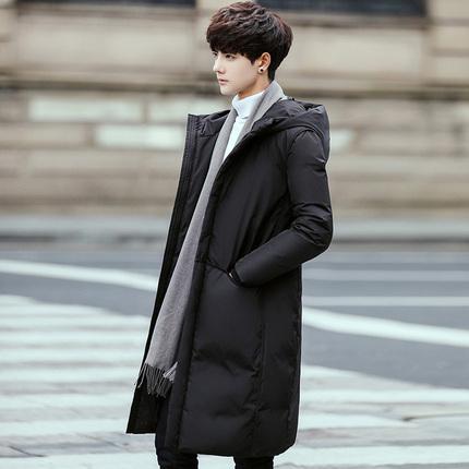 羽绒服男中长款2017新款韩版修身潮学生过膝青年加厚帅气男士外套
