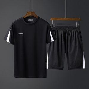 夏季大码透气柔短袖套装男休闲运动服男士短裤子超吸汗上衣+裤子