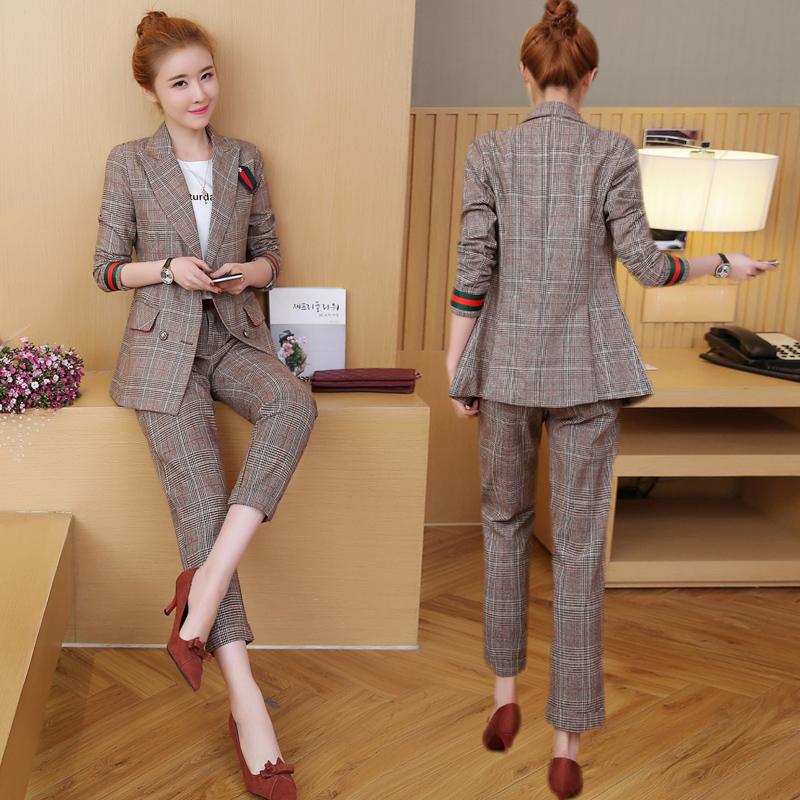 畔喜格子西装外套女2018春秋装新款韩版修身百搭两件套时髦女士潮