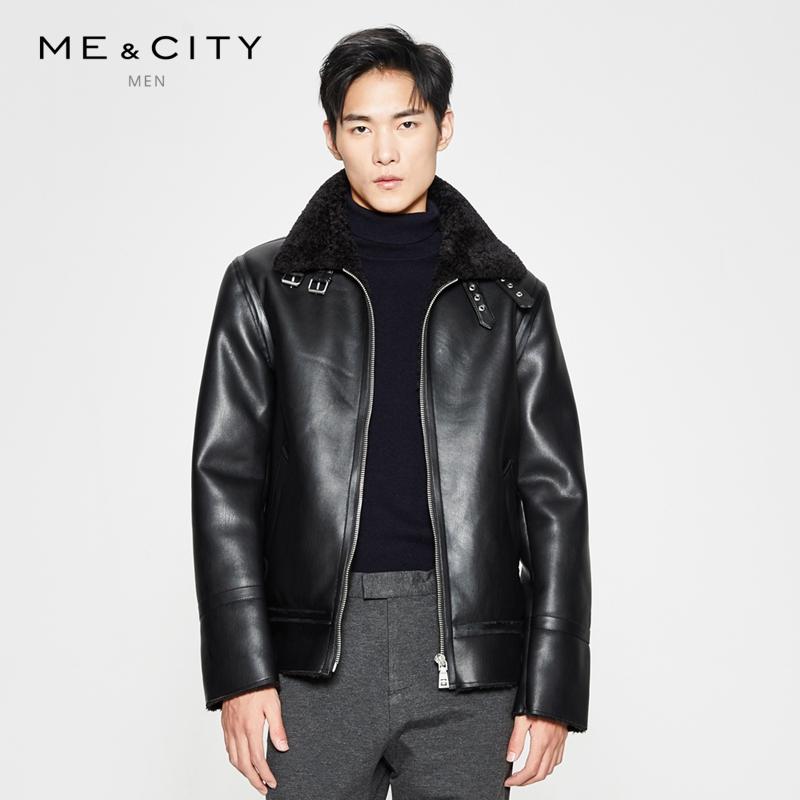 MECITY男装冬季翻领加绒皮毛一体帅气机车夹克