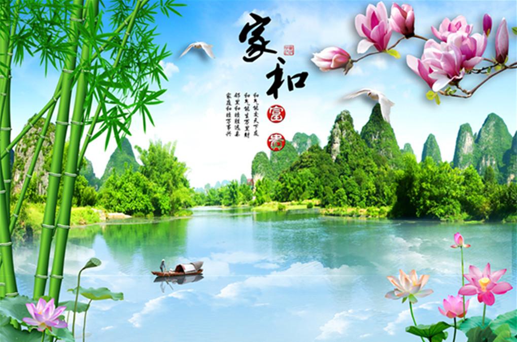 中式8d立体壁画墙纸竹子山水风景画客厅装饰墙布3d电视背景墙壁纸