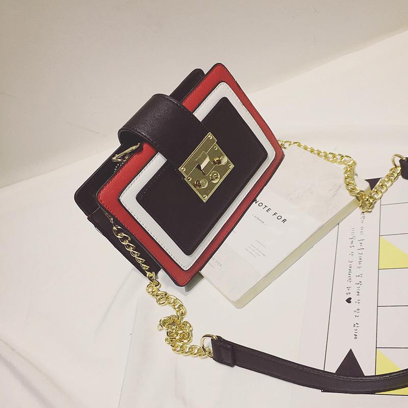 乔巴妮 2017新款韩国时尚撞色街拍网红小方包单肩斜跨潮流女包包