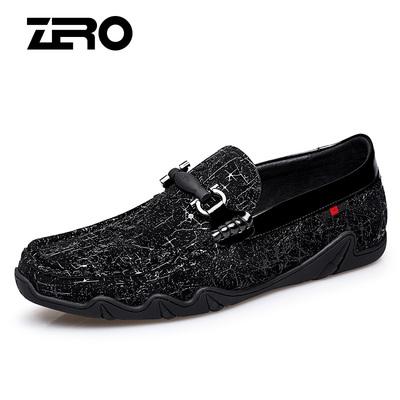 Zero零度男鞋2018秋季新款豆豆鞋英伦头层羊皮驾车鞋套脚休闲皮鞋
