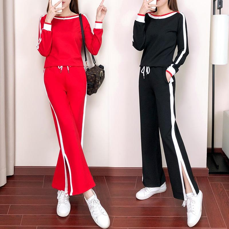 欧洲站休闲运动套装女2018秋新款俏皮时尚洋气时髦bf两件套潮