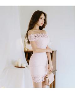 3737#2020韩版夏季新款一字领修身拼接花边连衣裙