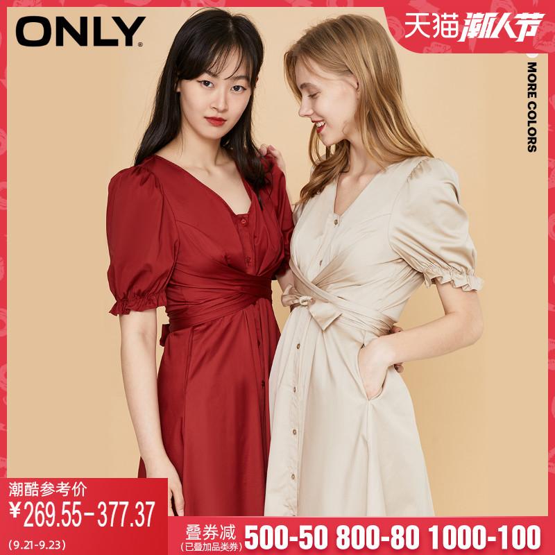 ONLY2020夏季新款法式复古收腰V领中长款连衣裙女 120107548
