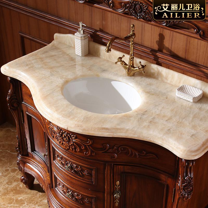 红橡木欧式浴室柜落地实木卫浴洗手台美式卫生间面池洗脸盆柜组合