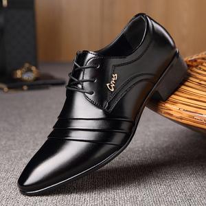 春季男士小皮鞋男正装韩版休闲皮鞋男士系带黑色潮流内增高大码
