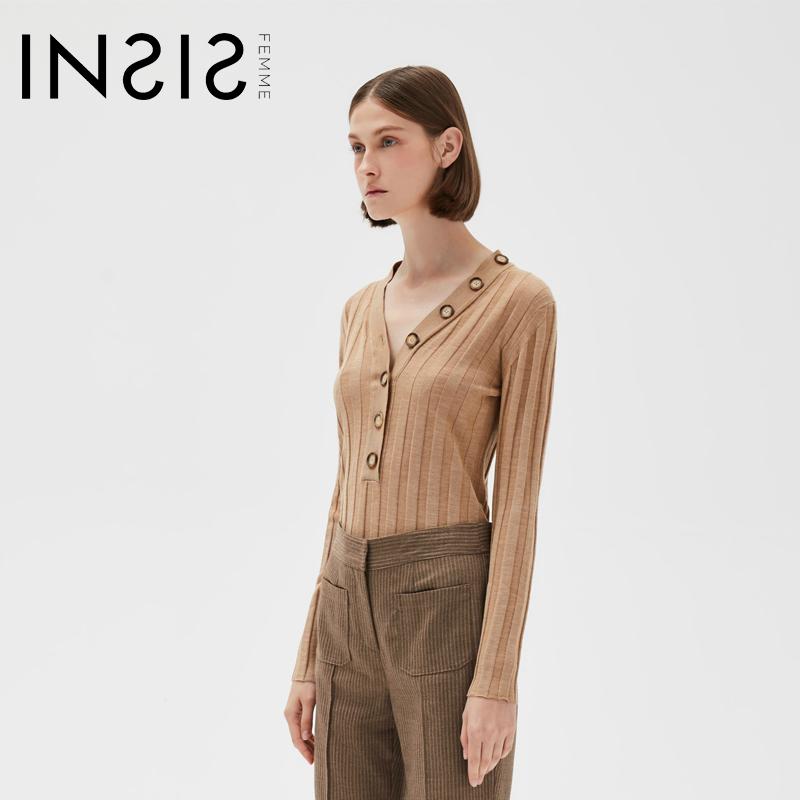 INSIS FEMME秋装新款打底衫V领纽扣款设计款修身长袖针织衫内搭