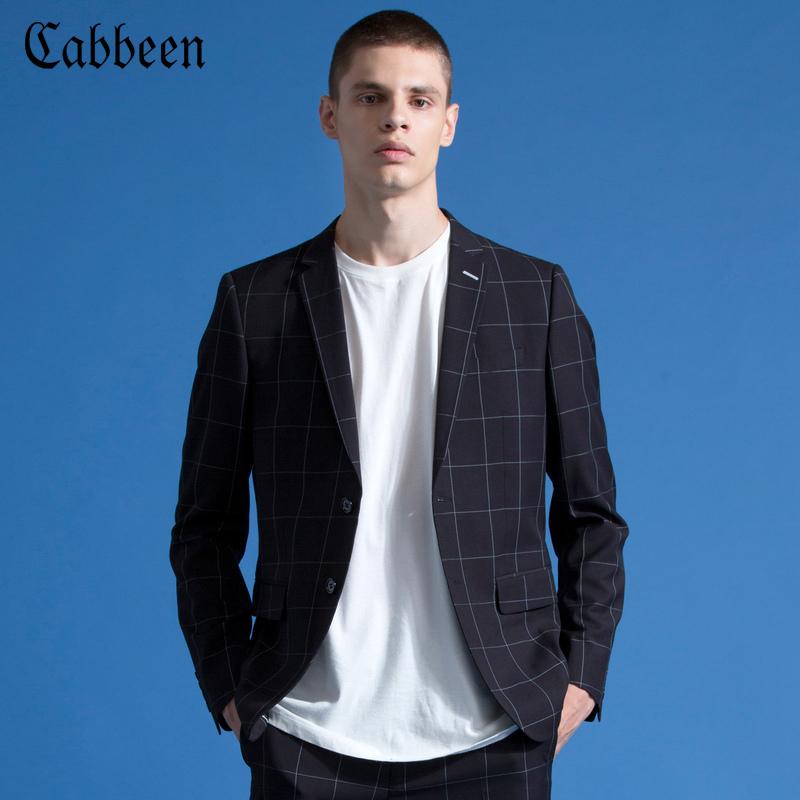 商场同款卡宾男装青年休闲西装2018秋新款修身格子西服黑色外套C