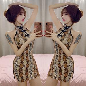193#实拍控价38  新款夜场性感蛇纹露背短款连衣裙旗袍